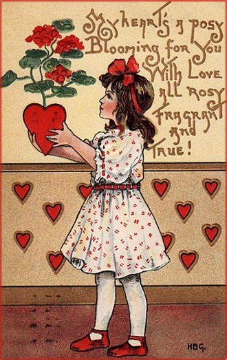 Little girl holding red roses in a pot shaped as a red heart. Lovely printable Valentines.
