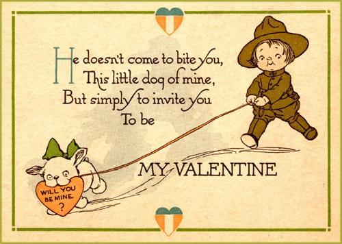 Funny Valentine card to print. Little boy holding dog with a love letter on a leash.