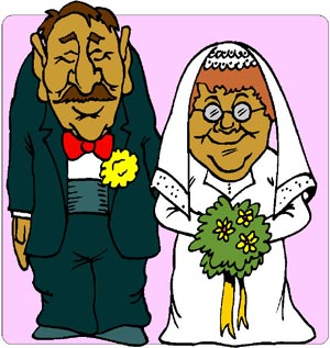 Funny drawing of odd married couple.