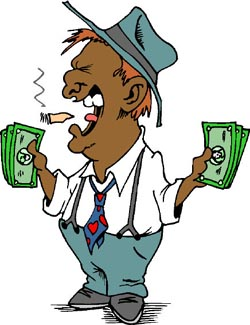 Money jokes: funny drawing of man with money in his hands