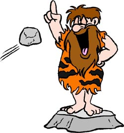 Short political jokes: Funny drawing of stone age man making a speach. An early politician.