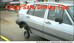 Safe driving tips: Funny car picture with very small hind wheel.