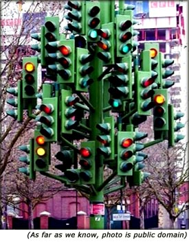 Safe driving tips: Funny picture of confusing traffic lights.