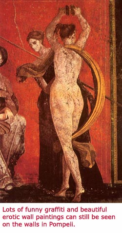 Short funny jokes: erotic mural from Pompeii. Wall painting of naked woman from Pompeii