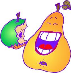 Short hilarious jokes: Funny drawing of orange pear eating an apple.