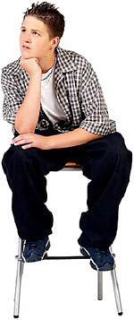 Young teenage boy sitting on a stool: Teen love poems.