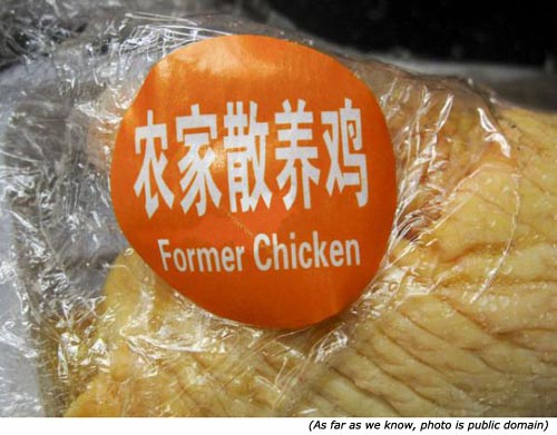 Funny signs. Former chicken!