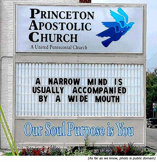 Hilarious sign: Funny church signs: Princeton Apostolic Church: A narrow mind is usually accompanied by a wide mouth!