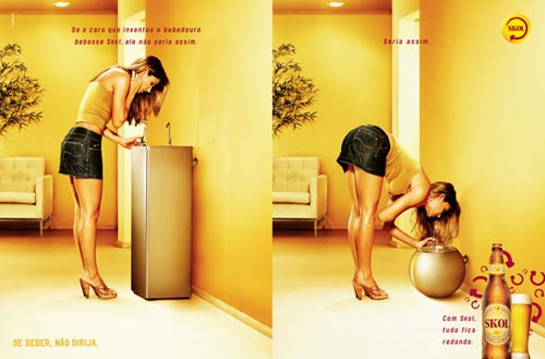 Skol beer ads - Woman drinking from water fountain!