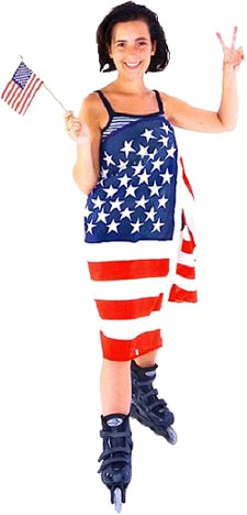 State Motto: photo of happy American girl wearing an American flag and holding an American flag in her hand.