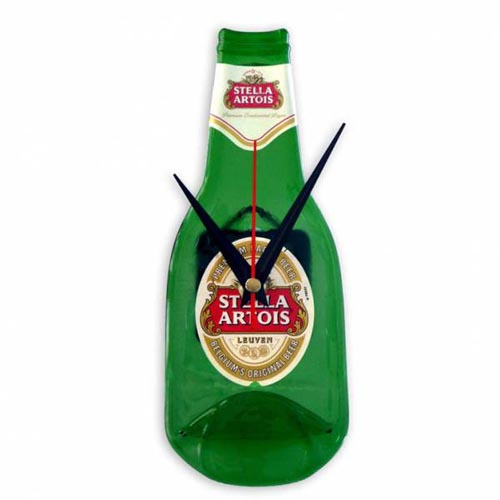 Stella Artois beer ads - Flat bottle with two clock hands that look like moustache.