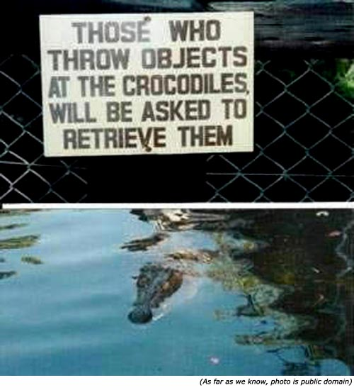 Silly signs: Funny warning sign and funny zoo signs: Those who throw objects at the crocodiles will be asked to retrieve them.