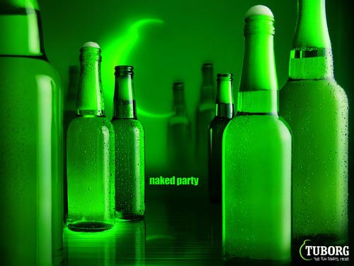 Tuborg ads - Naked Party - Many Tuborg bottles without labels, all 'naked'.