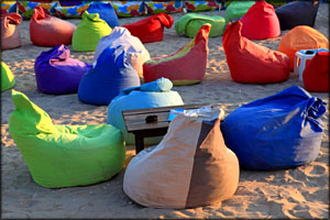 Unusual gifts - lots of bean bag chairs at the beach