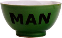 Unusual gifts for him: Green bowl with man written on it.