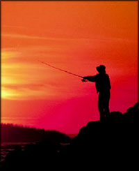Great unusual gifts: Portable fishing rod: Photo of man fishing in the orange sunset.