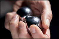 Unusual gifts for your man: Stress balls in silver.