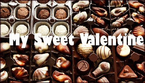 Modern Valentine card to print: Photo of white and brown chocolates.
