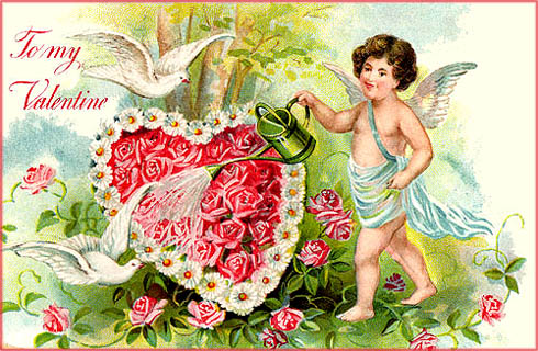 Vintage Valentines Pictures: A cupid watering a heart filled with roses.