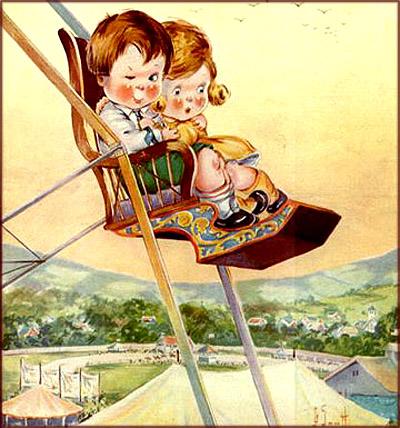 Children high up on Ferris wheel.