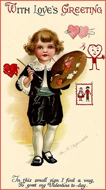 Free Valentine Day card: Little boy with painting palette in his hand.
