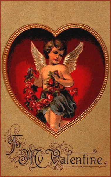 Many Vintage Valentine cards feature cupids. Here is a cupid with a band of red roses.