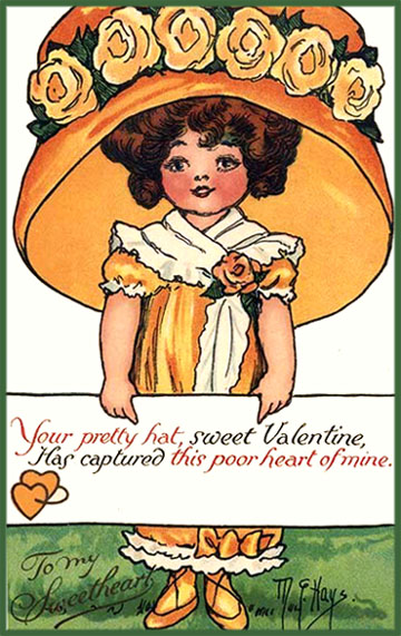 Free Printable Valentine picture. Girl in orange holding sweet Valentine Poems.