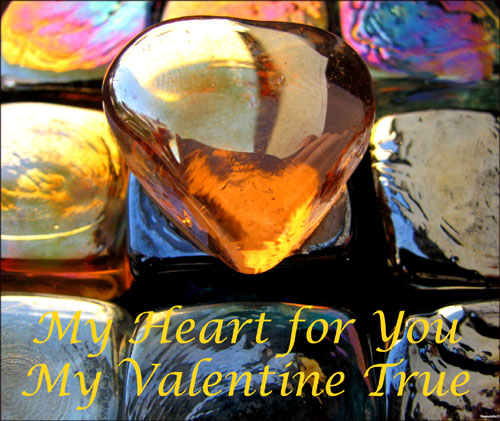 Beautiful free Valentine card, here is a photo of an orange gem stone with Valentine greeting below.