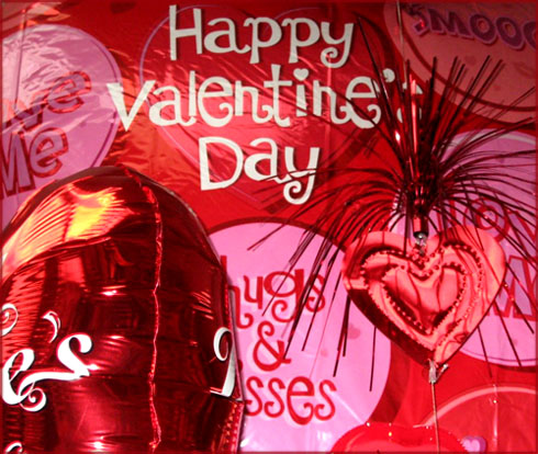 Photo Valentine's: Red Happy Valentine's balloon and other modern Valentine stuff.