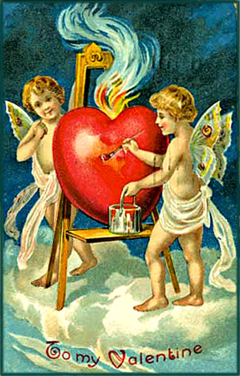 Vintage Valentine's: Two cupid painting a heart red.