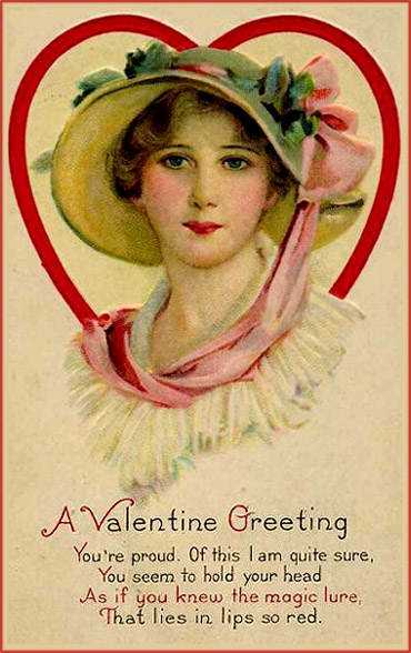 Old Free Valentine Card. Potrait of young woman and Valentine Poems.