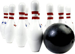 Go bowling for Valentine: Photo of bowling ball and white bowling pins.
