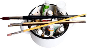 Artist's paint and brushes.