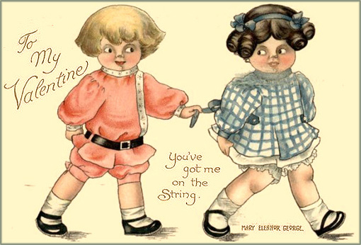 Free Valentines Day cards: little boy holding on to a little girl by a ribbon in her dress