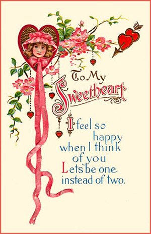 Vintage Valentine card of a little girl inside a heart with long pink ribbons hanging down.