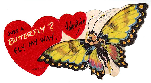 Free Valentines Day pictures: Old Valentine picture of woman butterfly and two hearts with a Valentine greeting.