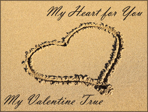 Modern printable Valentines cards: photo of heart drawn in the sand.