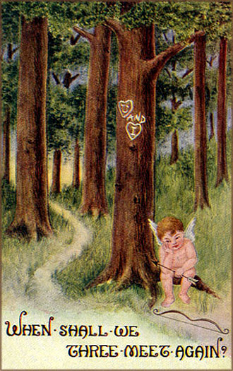 Vintage Valentines Day picture of little Cupid all lost and alone in the forest waiting for a couple in love to swing by.
