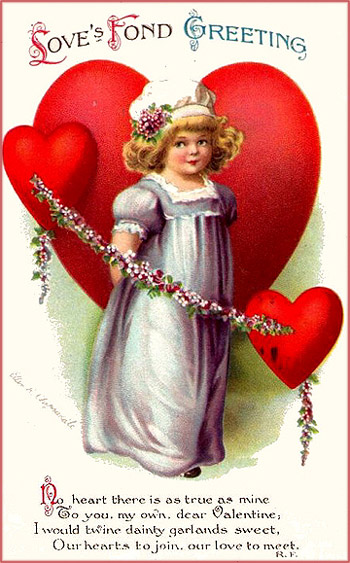 Free Valentine pictures in vintage style: Little girl with big red hearts and a garland of flowers.