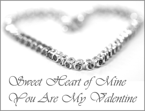 Printable Valentines cards: Photo of silver necklace that forms a heart and short Valentines poems.