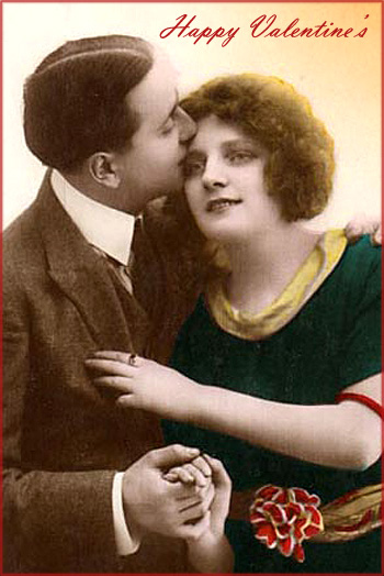Vintage Valentine - old photo of man holding woman - Happy Valentine's