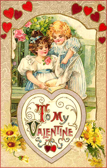 Free Valentine pictures: two girls feeding a white pigeon.
