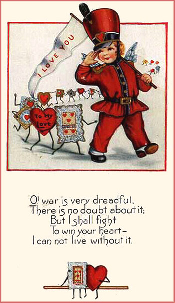 Old Civil War Valentines Cards with soldier and lots of Valentine greeting cards with Valentines poems.
