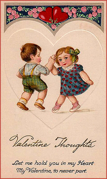 Vintage Valentine picture of a little girl and a little boy dancing inside a white heart.