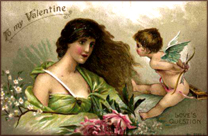 Free Valentine pictures: Old Valentine card of woman and Cupid hiding his bow and arrow.