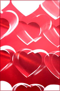 Romantic Valentine hearts: Red hearts graphic.