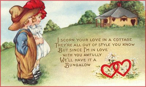 Valentine Pictures: Cute picture of two children looking at a cottage. Cute love poems for Valentines day.