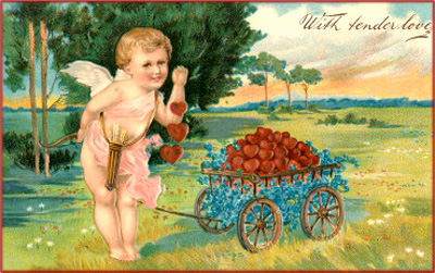Free Valentines card with cupids with bow and arrows: Here he is pulling a push cart filled with red hearts.
