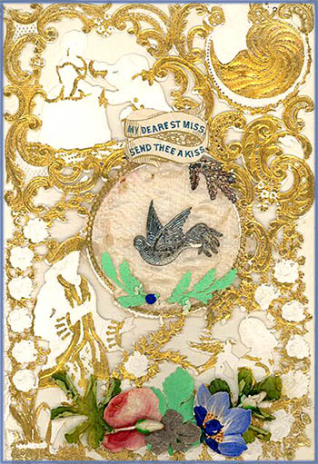 Free Valentines Day cards in very old style: Antique card with gold decorations.