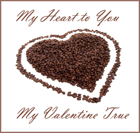 Brown heart made of brown coffee beans. Example of free Valentine card in modern style.